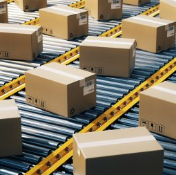 The parcel is on the conveyor belt,Concept of automatic logistics management.3d rendering.